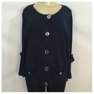 Ann Klein Navy Blue Cardigan with Silver Buttons